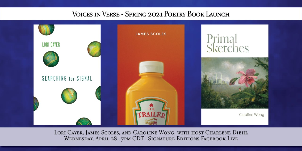 Lori Cayer, James Scoles, and Caroline Wong with host Charlene Diehl, for the Voices in Verse: Spring 2021 Poetry Book Launch.